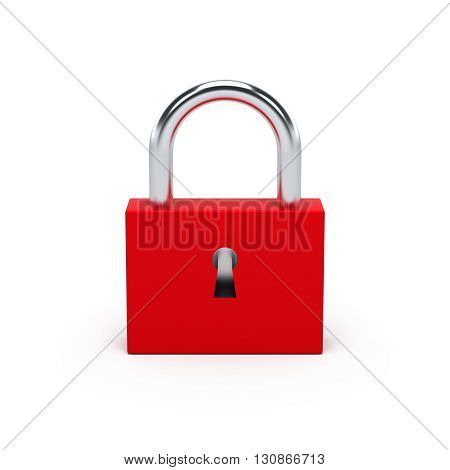 Red Lock. 3D Illustration.