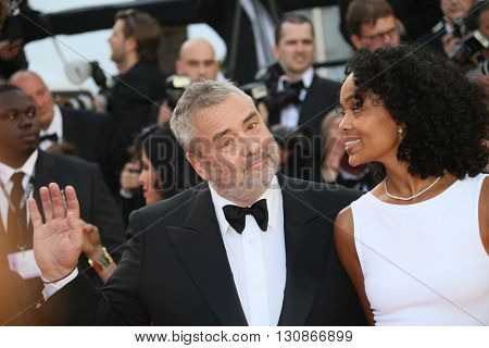 Luc Besson and Virginie Silla attend 'The Last Face' Premiere during the 69th annual Cannes Film Festival at the Palais des Festivals on May 20, 2016 in Cannes, France.