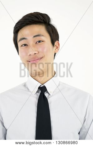 Asian handsome businessman isolated on white background