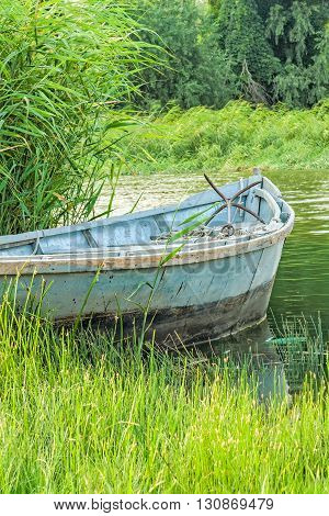 Old fishing boat in the reeds on the river in the evening sun