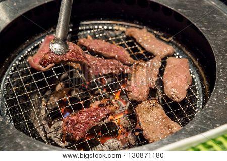 grilled Freshness Japanese wagyu  meat BBQ yakiniku