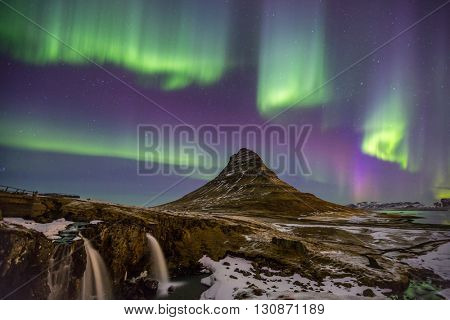 The Northern Lights Aurora borealis at Kirkjufell Iceland