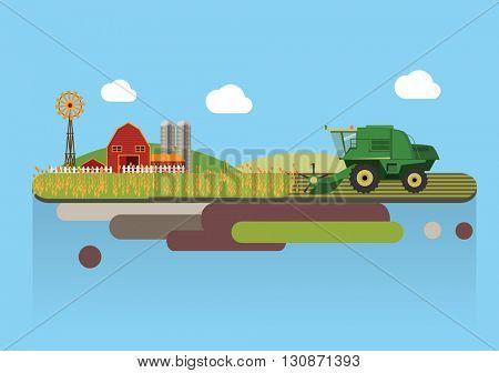 Farming agriculture concept flat vector illustration.