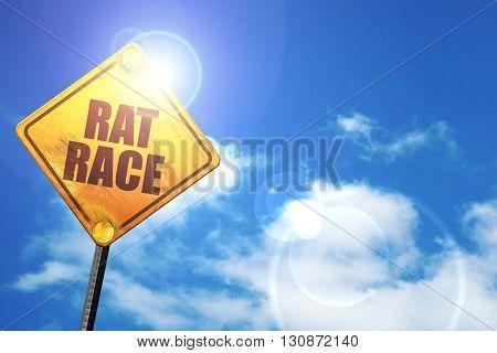 rat race, 3D rendering, a yellow road sign