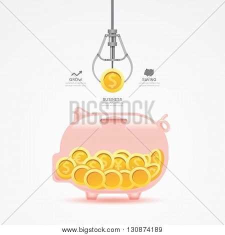 Infographic business claw game with coin piggy bank template design. money game concept vector illustration / graphic or web design layout.