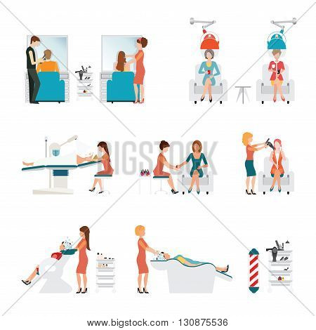 Hair beauty salon with hairdresser and customer isolated on white background vector illustration.