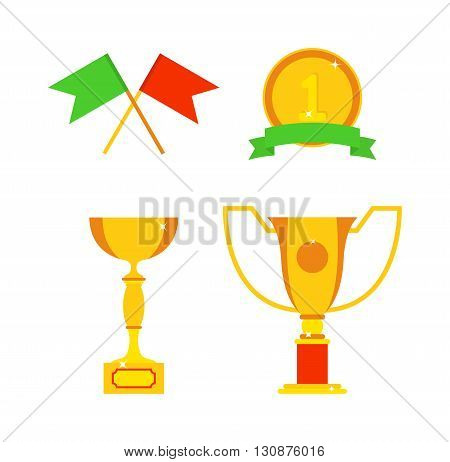 Trophy sports awards and sport awards in flat design style. Sports awards vector and gold winner cup sports awards. Sports awards trophy victory prize cup achievement and champion win competition.