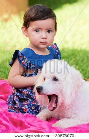 Girl With Sleepy Poodle