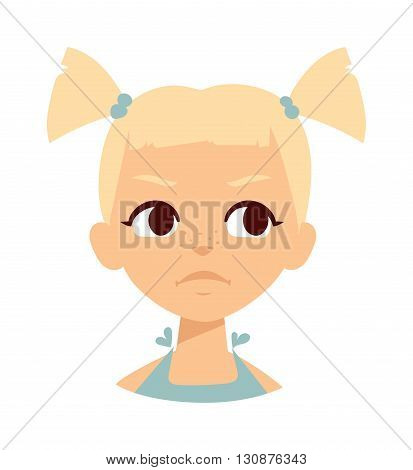 Sadness baby girl isolated. Sadness baby girl vector and sad baby little girl portrait. Sadness baby girl flat character vector. Sadness baby girl small emotion beautiful kid. Unhappy baby girl.