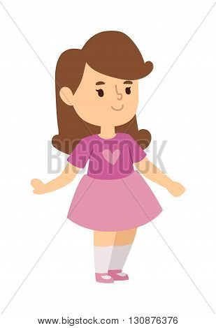 Cute baby kid girl and cute girl character vector. Cute girl beautiful fashion young female and cute girl dress kid love child. Cute girl dress kid love child and cute happy girl. Cartoon character.