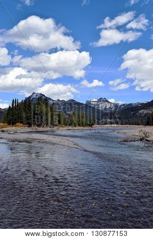 the river and scenery from the lamar valley, yellowstone national park
