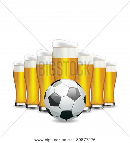 Illustration Glasses of Beer and Soccer Ball. Objects Isolated on White Background - Vector