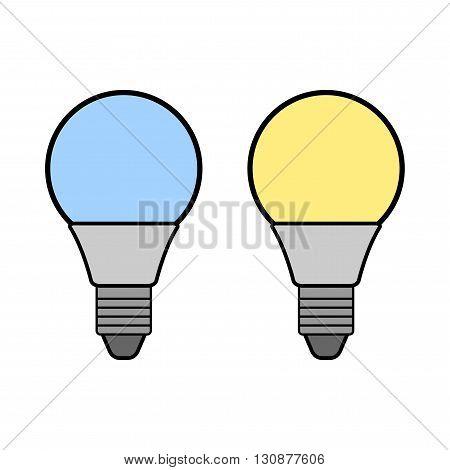 Led bulbs. Flat color icon light bulb. Energy saving lamp. Warm and cold light