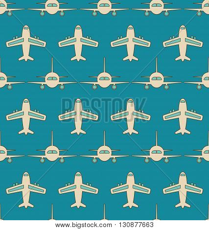 Illustration Seamless Background with Flying Transports. Plane, Jet, Airplane, Aircraft, Airliner, Aeroplane - Vector poster