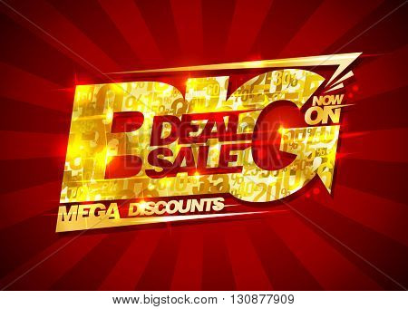 Big deal sale, mega discounts, rich golden banner with rays, vintage style