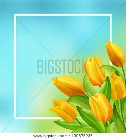 Illustration Natural Frame with Yellow Tulips Flowers, Copy Space for Your Text. Beautiful Nature Card - Vector