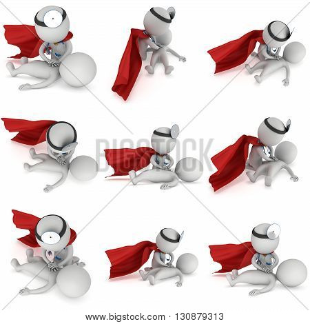 Superhero Doctor doing CPR First Aid Set. 3d CPR training concept on white background. CPR illustration