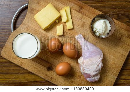 Protein rich ingredients on a wooden board