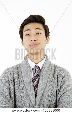 Portrait of arrogant young man isolated on white background