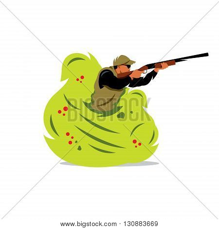 A man with a gun shoots from the bush