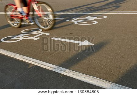 Bicycle road sign with bike rider in motion. city