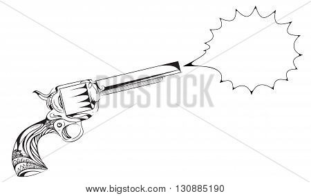 Hand drawn revolver with boho pattern and speech bubble for text. Vector vintage element for tattoo design printed on a T-shirt postcard and your creativity