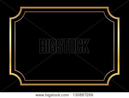 Gold frame. Beautiful simple golden design. Vintage style decorative border, isolated on black background. Deco elegant art object. Empty copy space for decoration, photo, banner. Vector illustration.