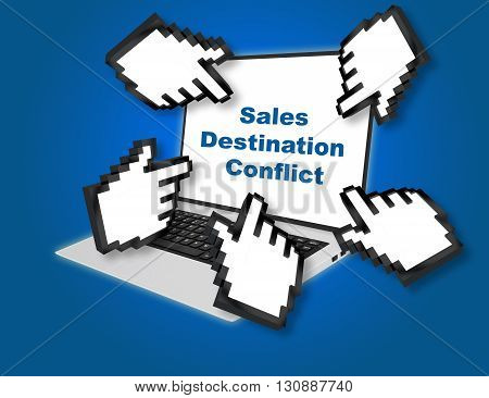 Sales Destination Conflict Business Concept