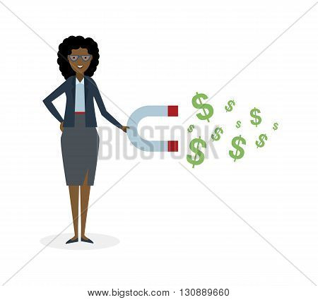 Businesswoman with magnet on white background. African american businesswoman holding magnet. Magnetize money, wealth, finance. Earn money.