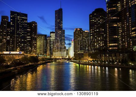 Chicago along the river at night. Chicago Illinois USA