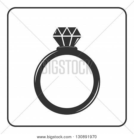 Diamond engagement ring icon. Crystal sign. Black circle silhouette isolated on white background. Flat fashion design element. Symbol of engagement, gift, jewel, luxury, expensive. Vector Illustration.