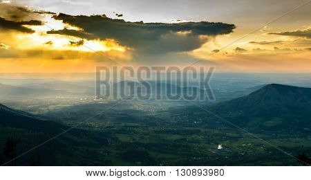 Beautiful and dramatic sunset from czech mountains Beskydy black and white