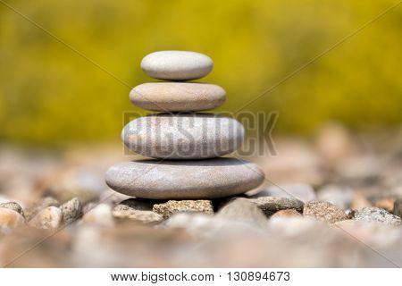 Pile Of Balancing Pebble Stones Outdoor