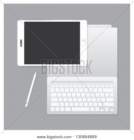 White Tablet Pro with Keyboard Case and Pen Vector Illustration