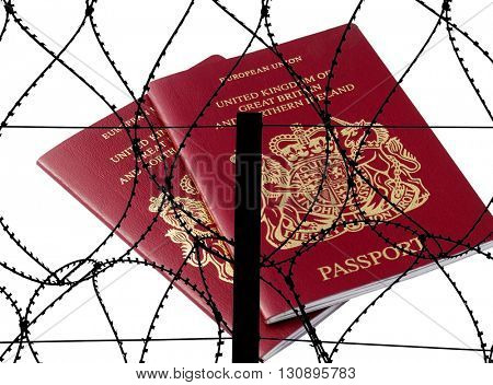 Two british passports overlaid with silhouette barbed wire