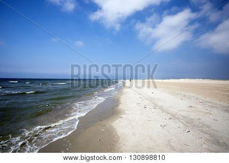 Rømø coastline a sky blue summer day in Denmark.