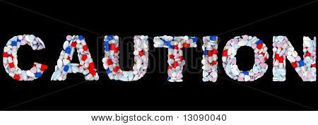 Medical Font Caution Word Isolated