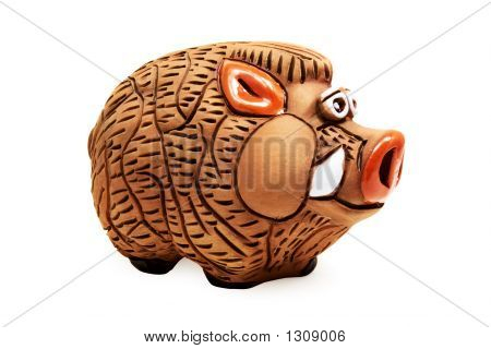 Wild Piggy Bank (Isolated On White)