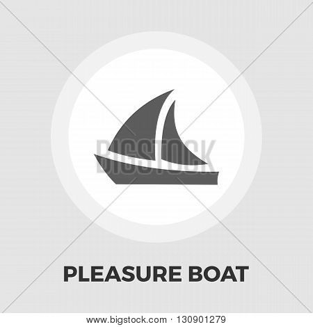 Pleasure Boat Icon Vector. Flat icon isolated on the white background. Editable EPS file. Vector illustration.