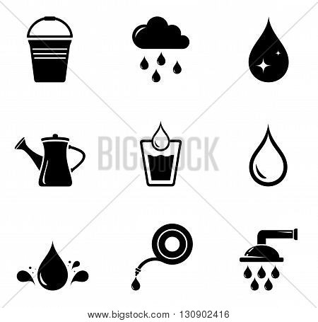 set of black isolated watering silhouette on white background
