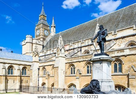 London the Cromwell statue in front of the Westminster palace seat of Parliament