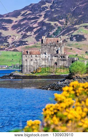 Eilean Donan Castle during spring time in Highlands of Scotland