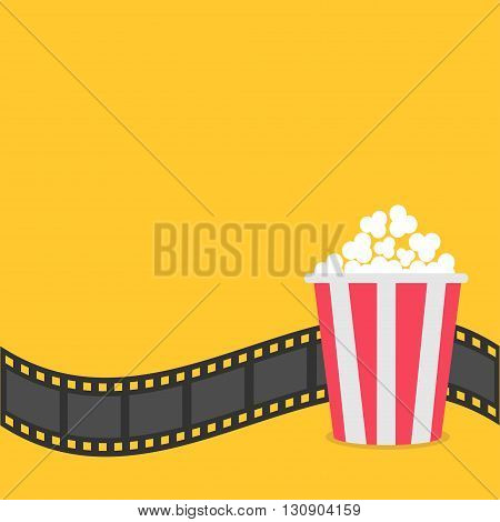 Popcorn. Film strip border. Red yellow box. Cinema movie night icon in flat design style. Yellow background. Vector illustration