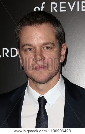 NEW YORK-JAN 5: Actor Matt Damon attends the 2015 National Board of Review Gala at Cipriani 42nd Street on January 5, 2016 in New York City.
