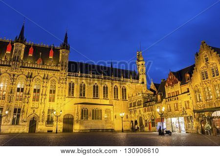 City Hall and Basilica of the Holy Blood in Burg Square in Burges in Belgium