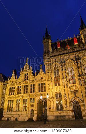 Burg Square in Bruges in Belgium in Europe