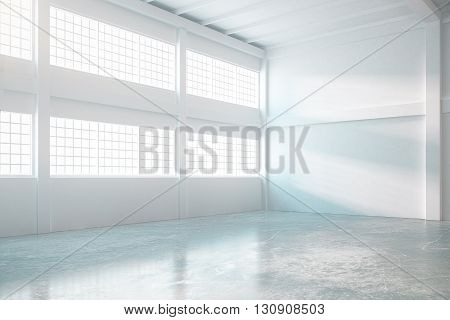 Bright empty hangar interior with concrete floor and daylight. 3D Rendering