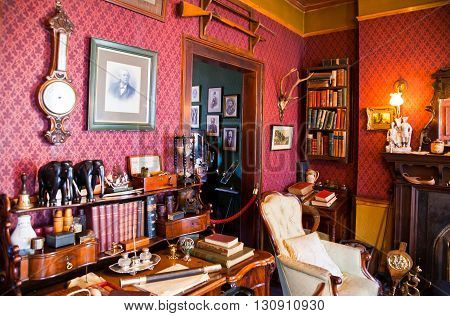 London England - January 27 2012: The Sherlock Holmes house and museum in Baker street