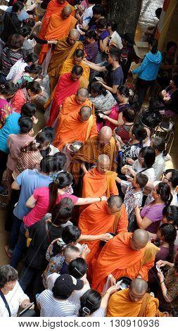Asia Monks On Buddha's Birthday Celebration