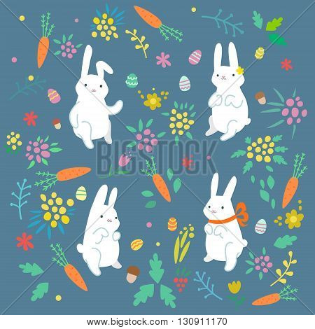 Greeting card with four white Easter rabbits. Easter Bunny.